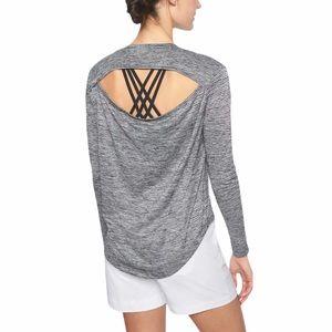 ATHLETA Breezy Long Sleeve Striped Open Back Top